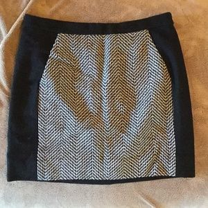Black Wool Skirt with Black and White Detail